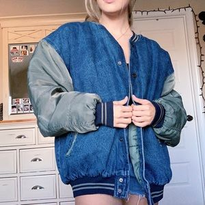 Vintage Oversized Denim Puffer Jacket